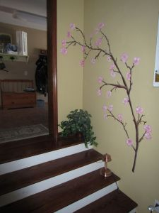 Cherry blossom branch mural
