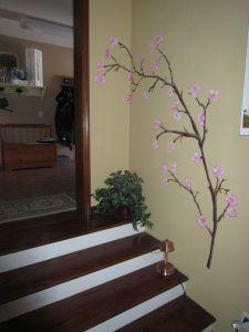 Cherry blossom branch mural