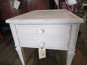 Baby pink side table with white glazing